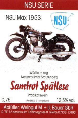 NSU Max 1953 - 2015 Samtrot Spätlese 750ml