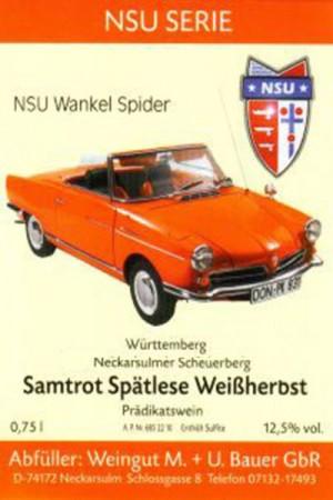 2015 Samtrot Weißherbst Spätlese, NSU Wankel Spider 1965 750ml