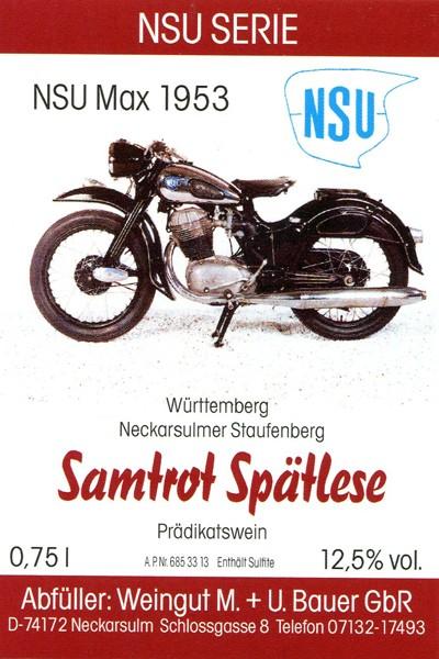 NSU Max 1953 - 2013er Samtrot Spätlese, goldene Preismünze