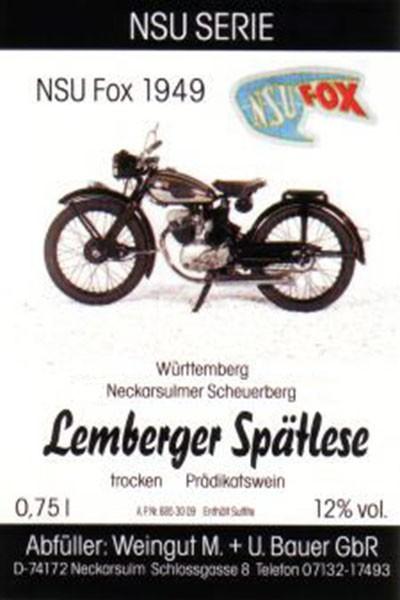 NSU Fox 1949 - 2012er Lemberger Spätlese trocken